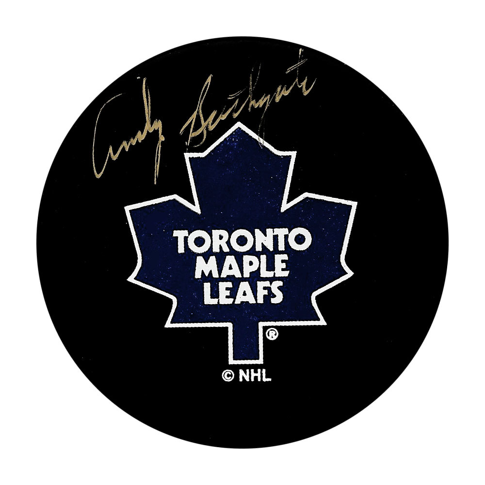 Andy Bathgate Autographed Toronto Maple Leafs Vintage Puck