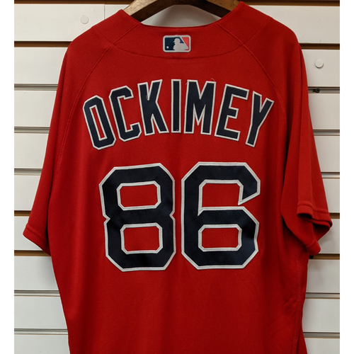 Photo of Josh Ockimey #86 Team Issued Nike Red Spring Training Jersey