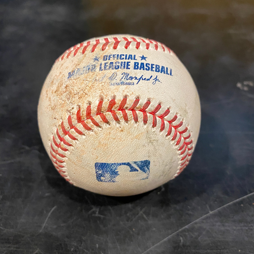 Photo of 2021 Game Used Baseball used on 4/28 vs. COL - T-1: Alex Wood to Ryan McMahon - Strike Out Swinging