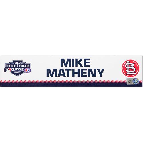 Photo of St. Louis Cardinals Game-Used Locker Name Plate, Mike Matheny #22