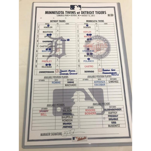 Photo of Game-Used Line-Up Card: Justin Upton Walk-Off Home Run
