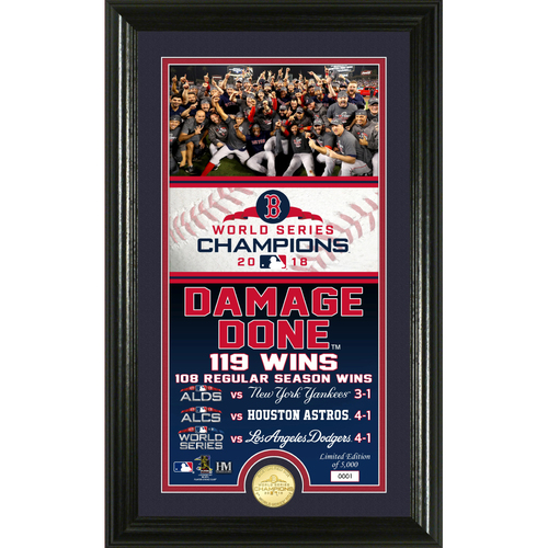 "Photo of Boston Red Sox WS 2018 Champs ""Damage Done"" Bronze Coin Supreme Photo Mint"