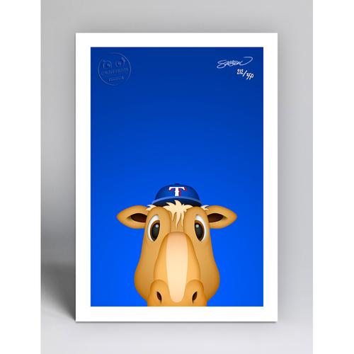 Photo of Rangers Captain - Limited Edition Minimalist Mascot Art Print by S. Preston  - Texas Rangers