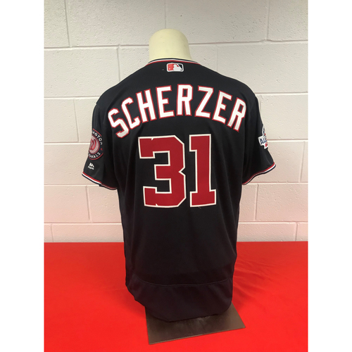 Photo of Max Scherzer Game-Used 2018 Navy Jersey with Script Nationals and All Star Game Patch