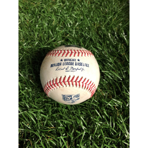 Photo of 20th Anniversary Game Used Autographed Baseball: C.J. Cron strike out and Joey Wendle triple off Corey Kluber - September 10, 2018 v CLE - Autographed by Wendle