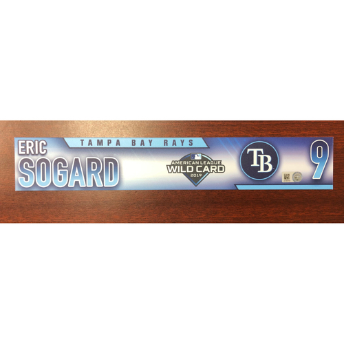 Photo of Game Used A.L. Wild Card Locker Tag: Eric Sogard