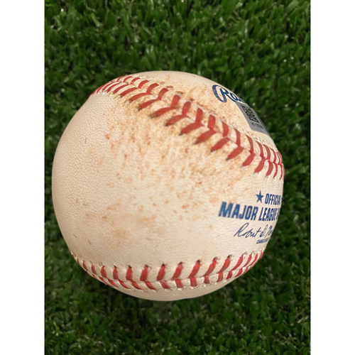 Photo of J.T. Realmuto Game Used Hit Single Baseball - August 23, 2020
