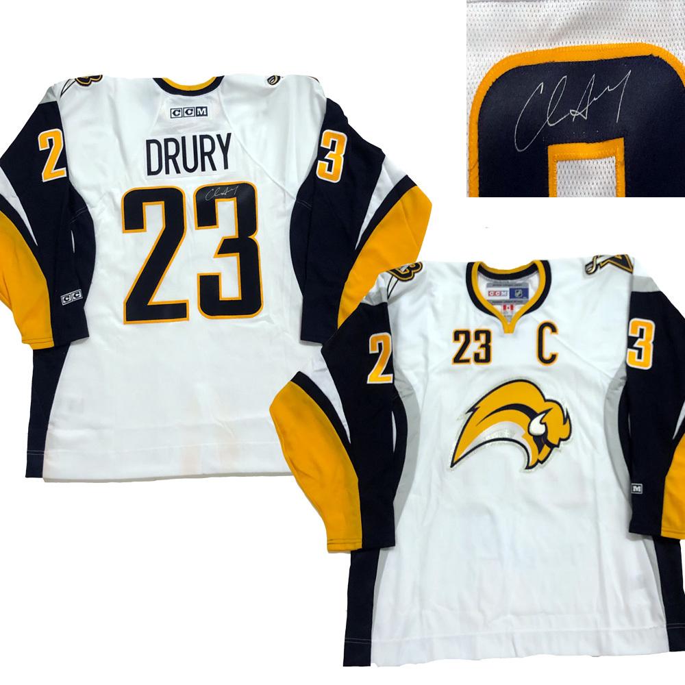 CHRIS DRURY Signed Buffalo Sabres White Jersey