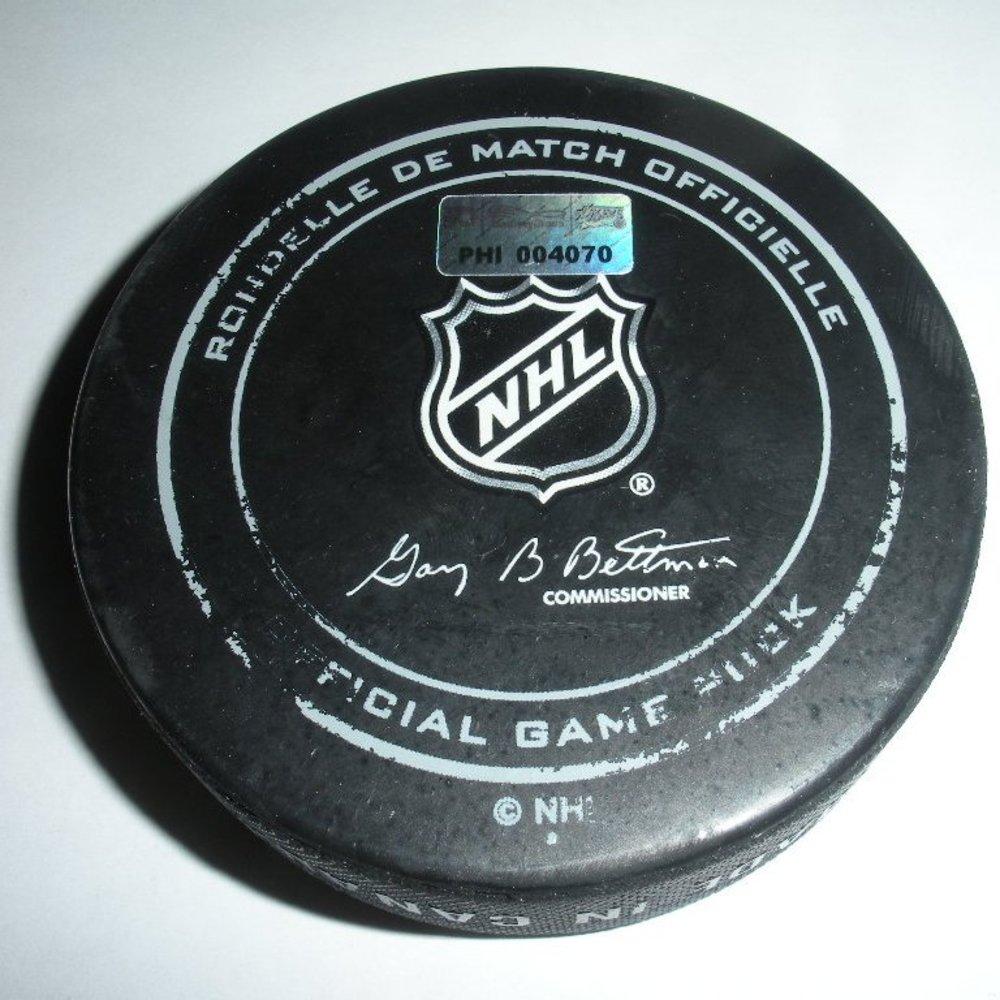 Jeff Skinner - Carolina Hurricanes - Goal Puck - April 13, 2014 (Flyers Logo)