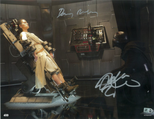Daisy Ridley as Rey and Adam Driver as Kylo Ren 11x14 Dual Autographed in Silver Ink Photo