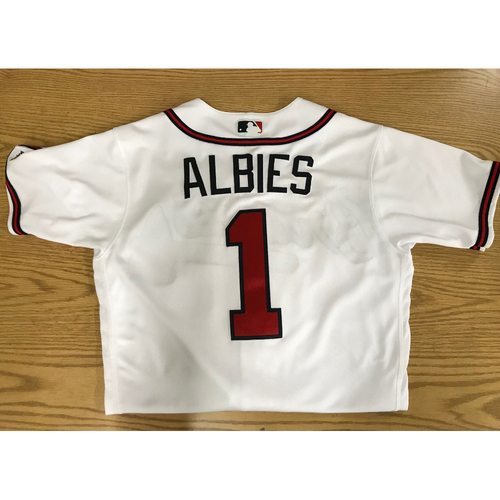 Photo of Ozzie Albies Game-Used 2018 Opening Day Jersey - Braves Walk-Off Win