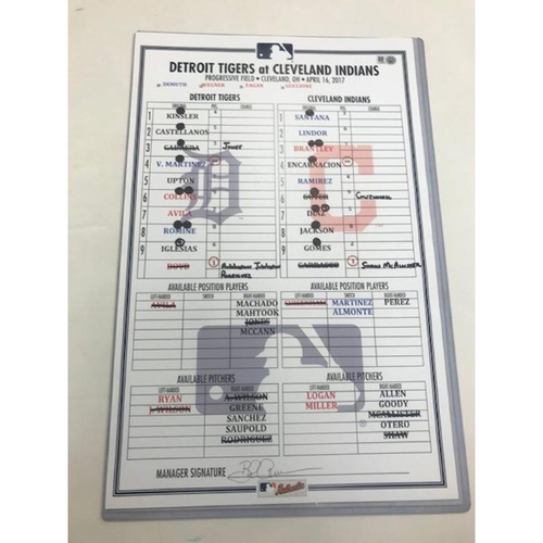 Photo of Game-Used Line-Up Card vs. Cleveland-Tigers Win