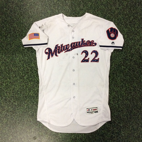 Photo of Christian Yelich Game-Used 2018 Stars & Stripes Jersey