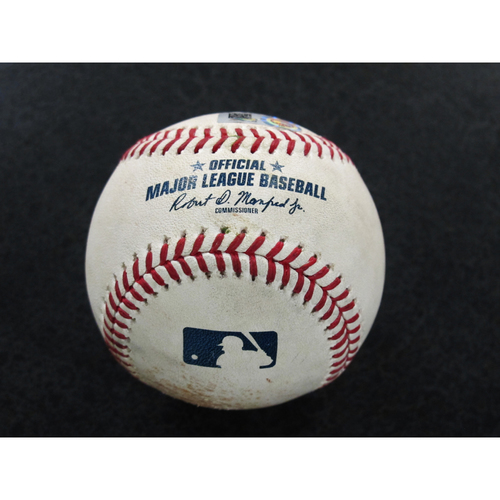 Game-Used Baseball Pitcher: Wade LeBlanc, Batter: Adrian Beltre (Double 22) 9-28-2018