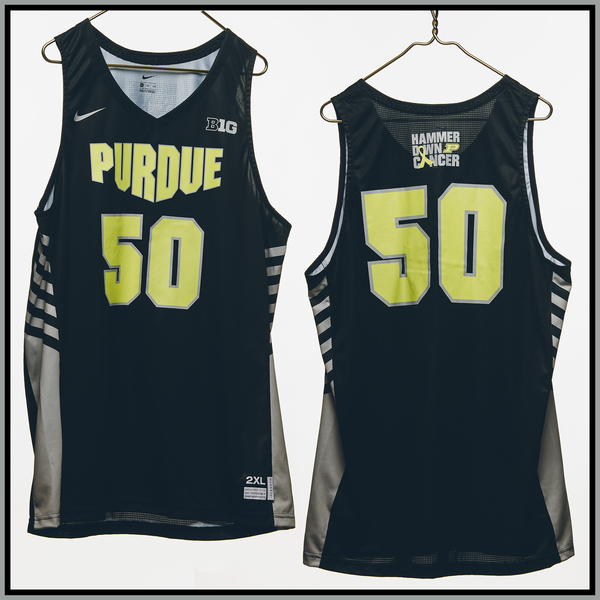 Photo of Purdue Basketball #50 Hammer Down Cancer Jersey, Worn By Trevion Williams