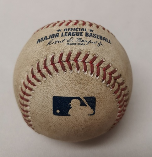 Photo of Authenticated Game Used Baseball - Todd Frazier Single against Marco Estrada (August 10, 2017 vs NYY). Top 6.