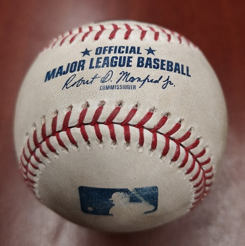 Photo of Authenticated Game Used Baseball - Lucas Giolito strikes out Freddy Galvis. Also 2 pitches to Vladimir Guerrero Jr. (May 12, 2019 vs CWS). Bottom 5.