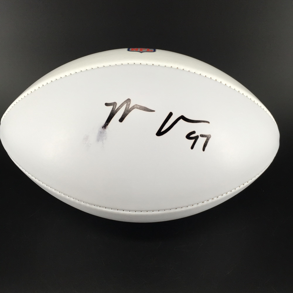 Panthers - Mario Addison signed NFL 100 logo white panel football