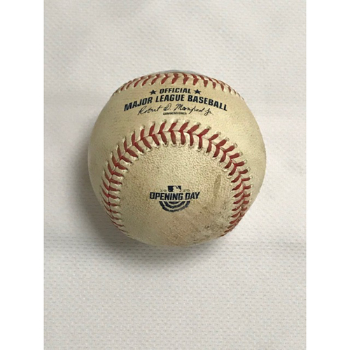Photo of Game-Used Baseball, Arizona Diamondbacks' Home Opener versus the Los Angeles Dodgers 7/30/20: Yoan López vs. Justin Turner (Fly Out to Ketel Marte) and Cody Bellinger (Ball, Ball). Baseball Features 2020 Opening Day Logo.