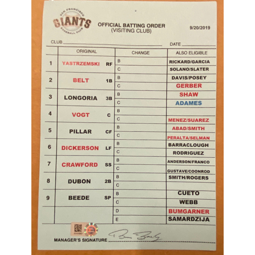 Photo of 9/20/19 Team-Issued Coach's Batting Order Card - Braves Clinch NL East