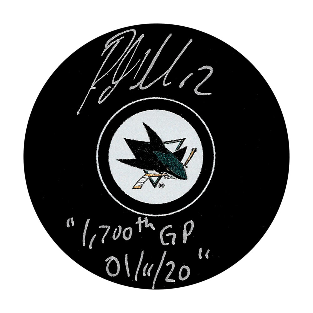 Patrick Marleau Autographed San Jose Sharks Puck w/1,700th GP 01/11/20 Inscription