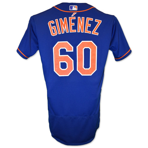 Photo of Andres Gimenez #60 - Team Issued Blue Alt. Home Jersey with Seaver Patch - 2020 Season