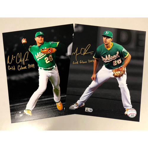 "Photo of Matt Chapman & Matt Olson Autographed 8""x10"" Photo w/ ""Gold Glove 2019"" Inscription"