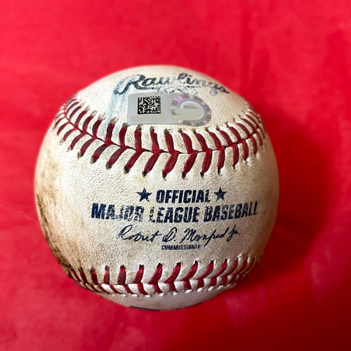 Photo of Game-Used Baseball - Manny Machado Pop Out vs. Tyler Gilbert (22nd Out of NO HITTER) - Padres @ D-backs 8/14/2021