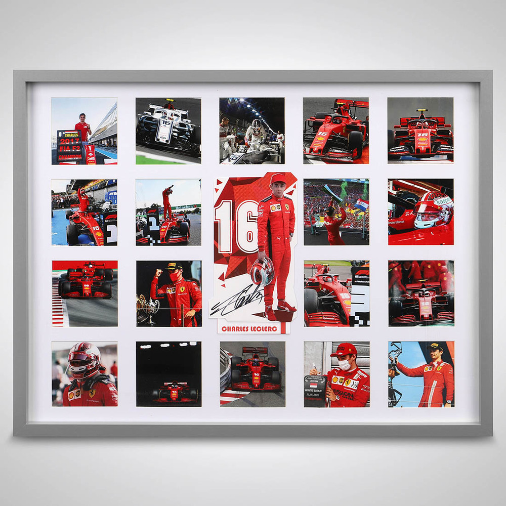 Charles Leclerc Ferrari Photograph Display With Signed Driver Card