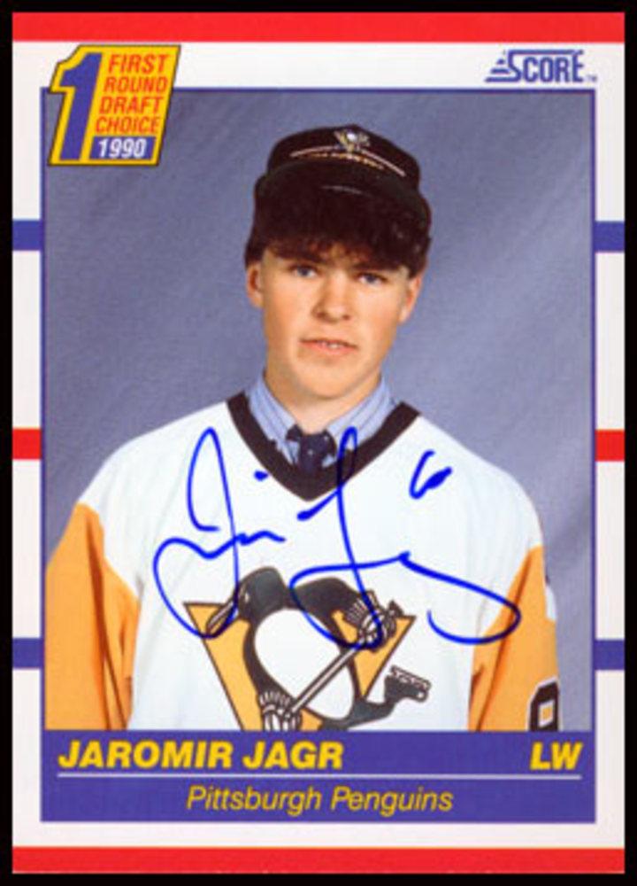1990 Score #428 Jaromir Jagr Autographed Rookie Card - Pittsburgh Penguins