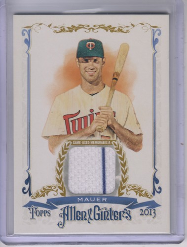 Photo of 2013 Topps Allen and Ginter Relics #JMA Joe Mauer-- Twins post-season