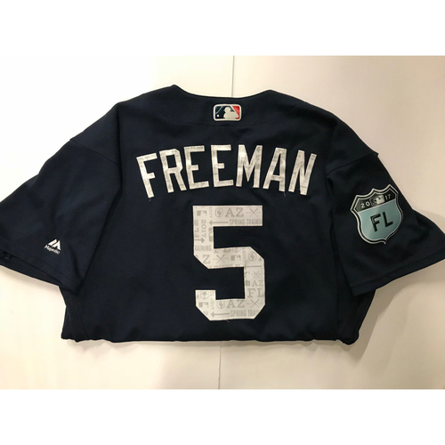 27a070bc2 Photo of Freddie Freeman Game Used 2017 Spring Training Jersey - 3 19 2017