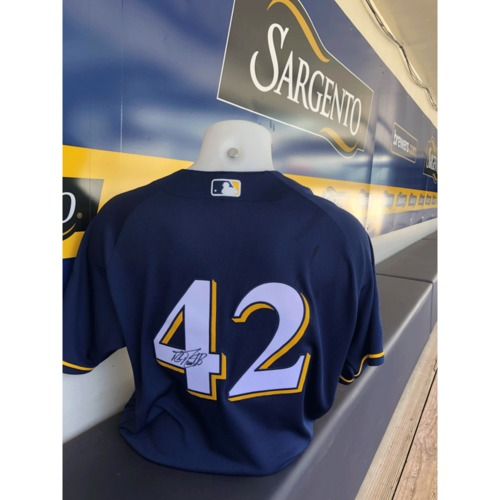 Photo of Mike Moustakas Game Used, Autographed Jackie Robinson Day Jersey; 2-3, 1 HR
