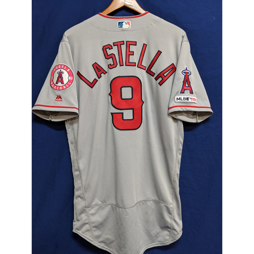 Photo of Tommy La Stella Game-Used Road Jersey - Angels at Athletics - 3/28/19