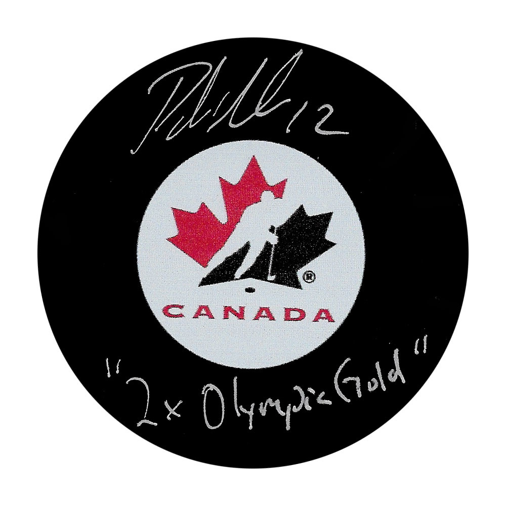 Patrick Marleau Autographed Team Canada Puck w/2X OLYMPIC GOLD Inscription