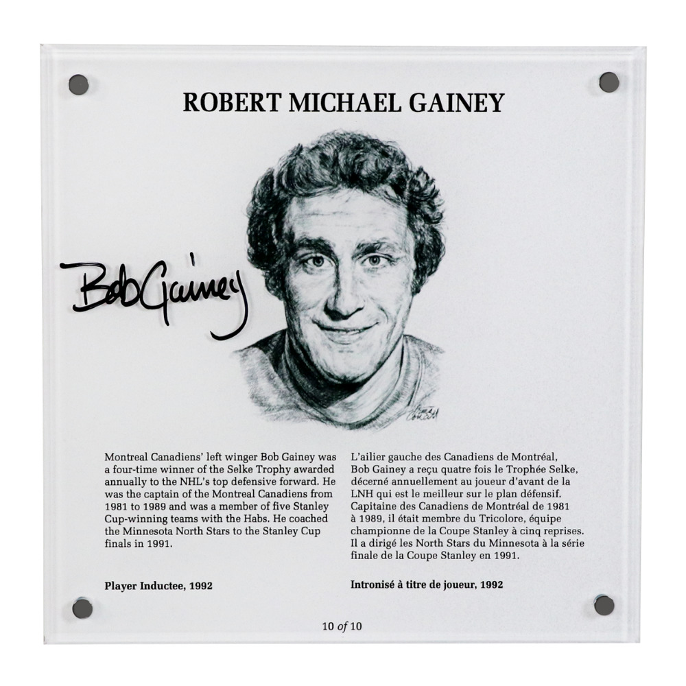 Bob Gainey Autographed Legends Line Honoured Member Plaque - Limited Edition 5/10