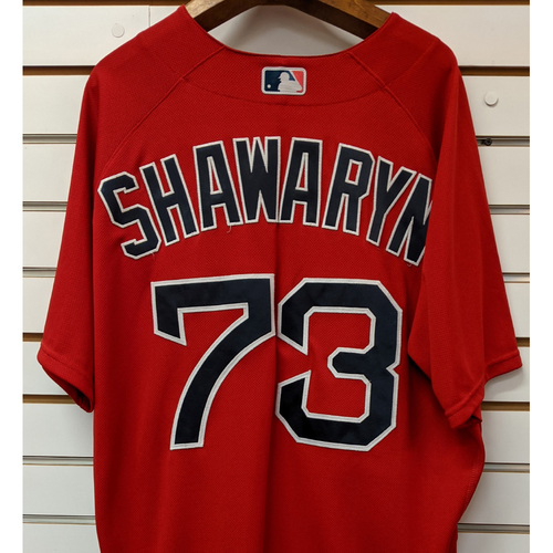 Photo of Mike Shawaryn #73 Team Issued Nike Red Spring Training Jersey