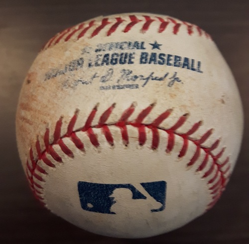 Photo of Authenticated Game Used Baseball - June 8, 2015: Single by Ichiro Suzuki against Marco Estrada (Top 5). Career Hit #2879.