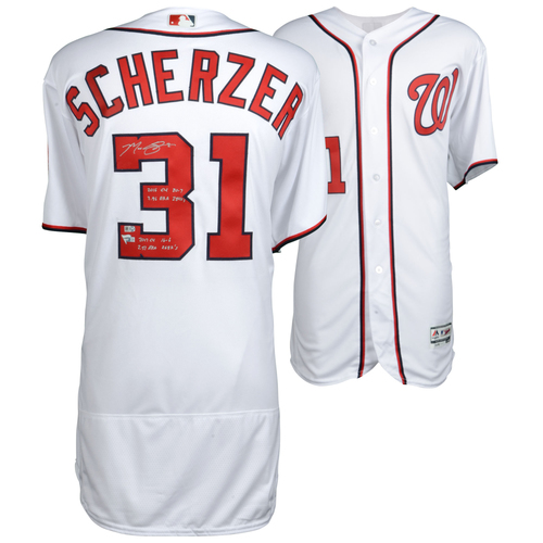 Photo of Max Scherzer Washington Nationals Autographed Majestic White Authentic Jersey with 2016/2017 CY Stat Inscriptions - #31 in a L. E. of 31