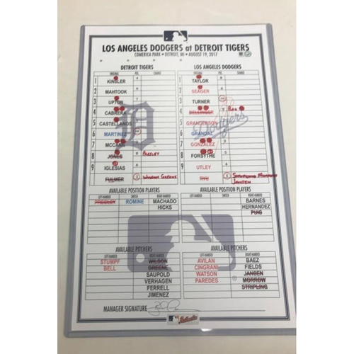 Photo of Game-Used Line-Up Card vs. Los Angeles Dodgers