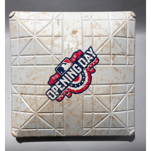 Photo of 2016 Detroit Tigers Opening Day - 2nd Base Used In Innings 6-7  - 4/08/16