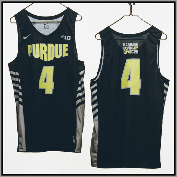 Photo of Purdue Basketball #4 Hammer Down Cancer Jersey, Worn By Emmanuel Dowuona