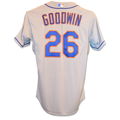 Photo of Tom Goodwin #26 - Game Used Road Grey Jersey - World Series Game 2 - Mets vs. Royals - 10/28/15