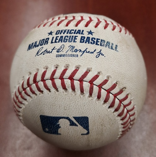 Photo of Authenticated Game Used Baseball - Ryan Burr strikes out Freddy Galvis (May 12, 2019 vs CWS). Bottom 8.