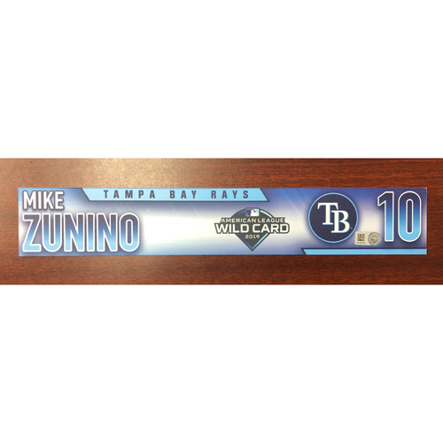 Photo of Game Used A.L. Wild Card Locker Tag: Mike Zunino - First Career Post Season Game
