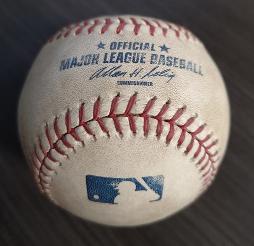 Photo of Authenticated Game Used Baseball - Foul by Derek Jeter against Brandon Lyon (Aug 11, 12 vs NYY). Top 9.