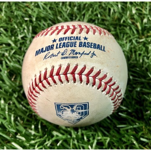 Photo of 20th Anniversary Game Used Baseball: Kole Calhoun single, Shohei Ohtani pop out, Mike Trout ball in dirt off Ryne Stanek - July 31, 2018 v LAA