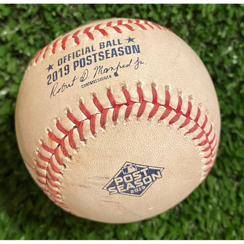 Photo of 2019 NLDS Game Used Baseball - John Brebbia pitched to Ronald Acuna, Jr., Foul - 10/9/19
