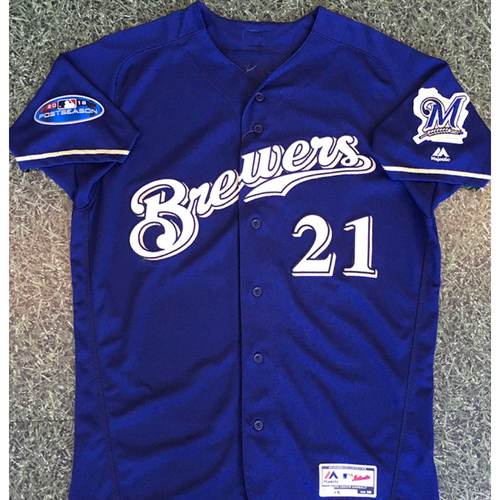 Photo of Travis Shaw 2018 Game-Used Postseason Jersey - NLDS Games 1, 2 & 3 (Combined 4-11, 2B, RBI, 3 BB, SB)
