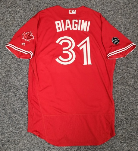 Photo of Authenticated Game Used Canada Day Jersey - #31 Joe Biagini (July 1, 18). Size 50.
